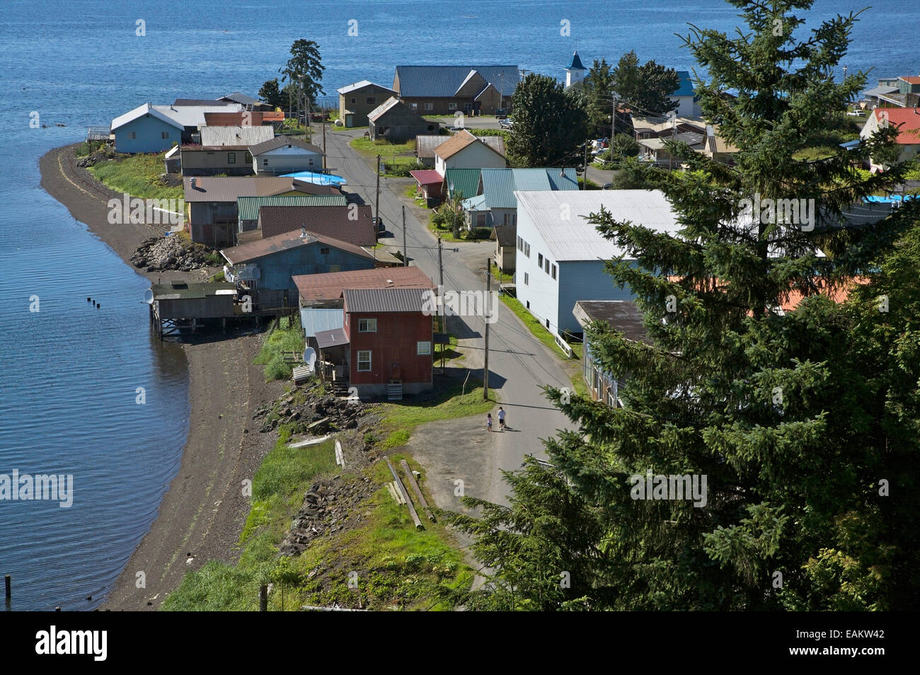 Aerial View Of *Old Town* In The Village Of Kake In Southeast, Alaska - Stock Image