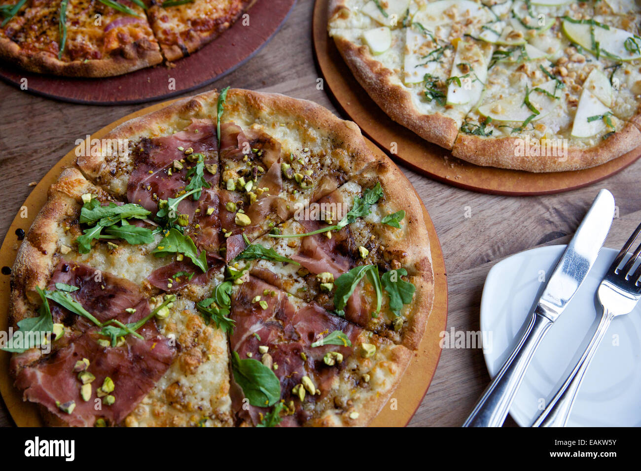 Gourmet pizza in Missoula, Montana. (Photo by Bess Brownlee) - Stock Image