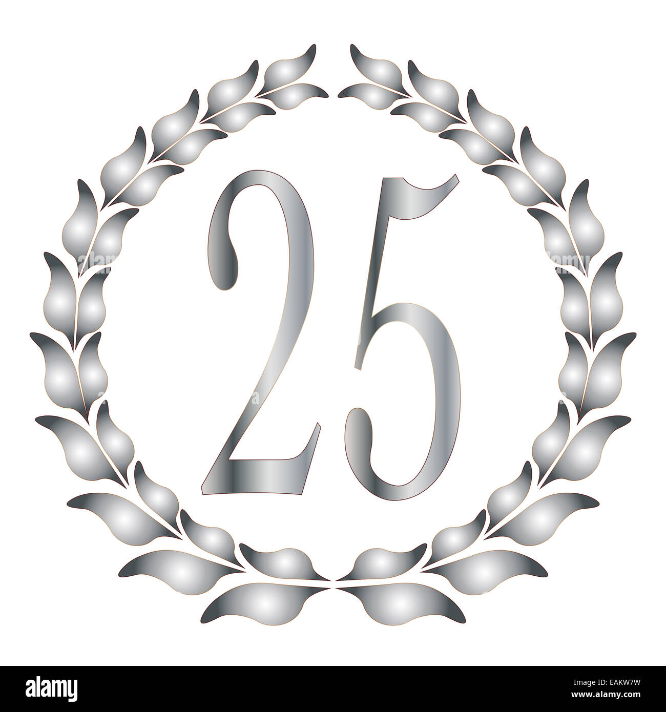 A 25th anniversary laurel over a white background - Stock Image