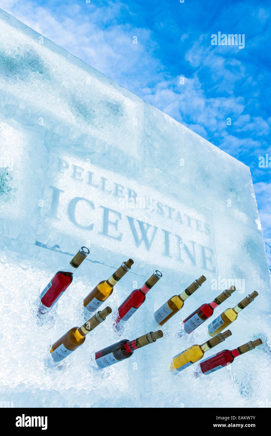 Canada,Ontario,Niagara-on-the-Lake,display of icewine bottles  in ice sculpture at Peller Estates Winery - Stock Image
