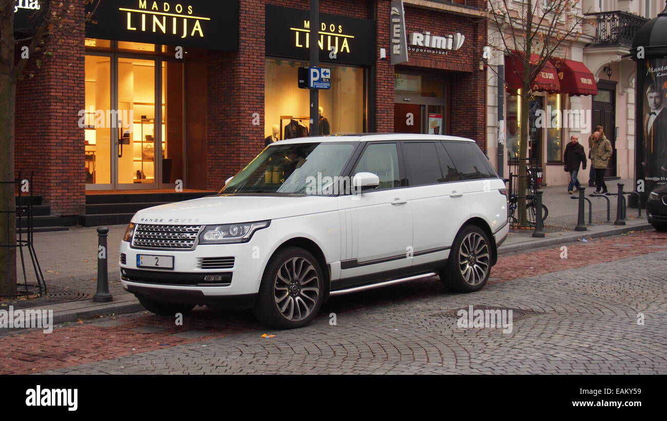 Vilnius,Lithuania. Range Rover has an extraordinary registration plate. - Stock Image