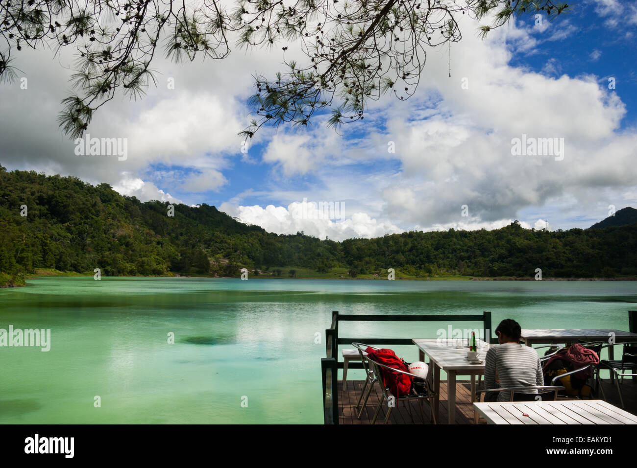 Linow Lake, a water-filled volcanic crater at North Sulawesi, Indonesia. - Stock Image