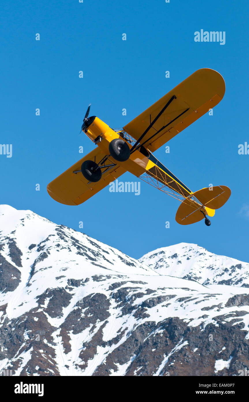 Airplane,Alaska,Blue Sky,Bushplane - Stock Image