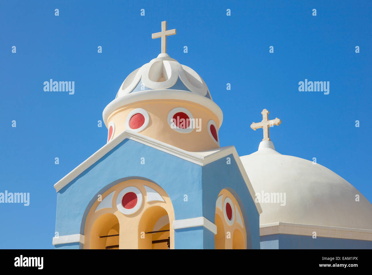 Catholic Church of Saint Stylianos, Fira, Santorini, Thira, Cyclades islands, Aegean Sea, Greece, EU, Europe - Stock Image
