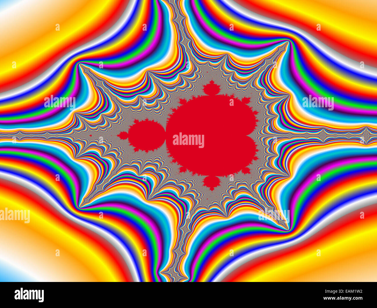 Digital visualization of a colourful fractal called Mandelbrot set. Mathematical Background - Stock Image