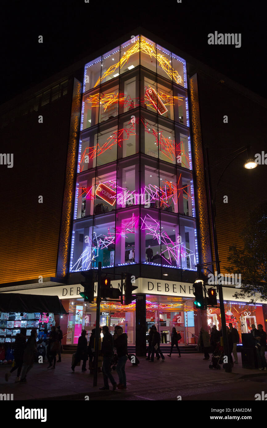 Debenhams department store with Christmas lights in Oxford Street ...