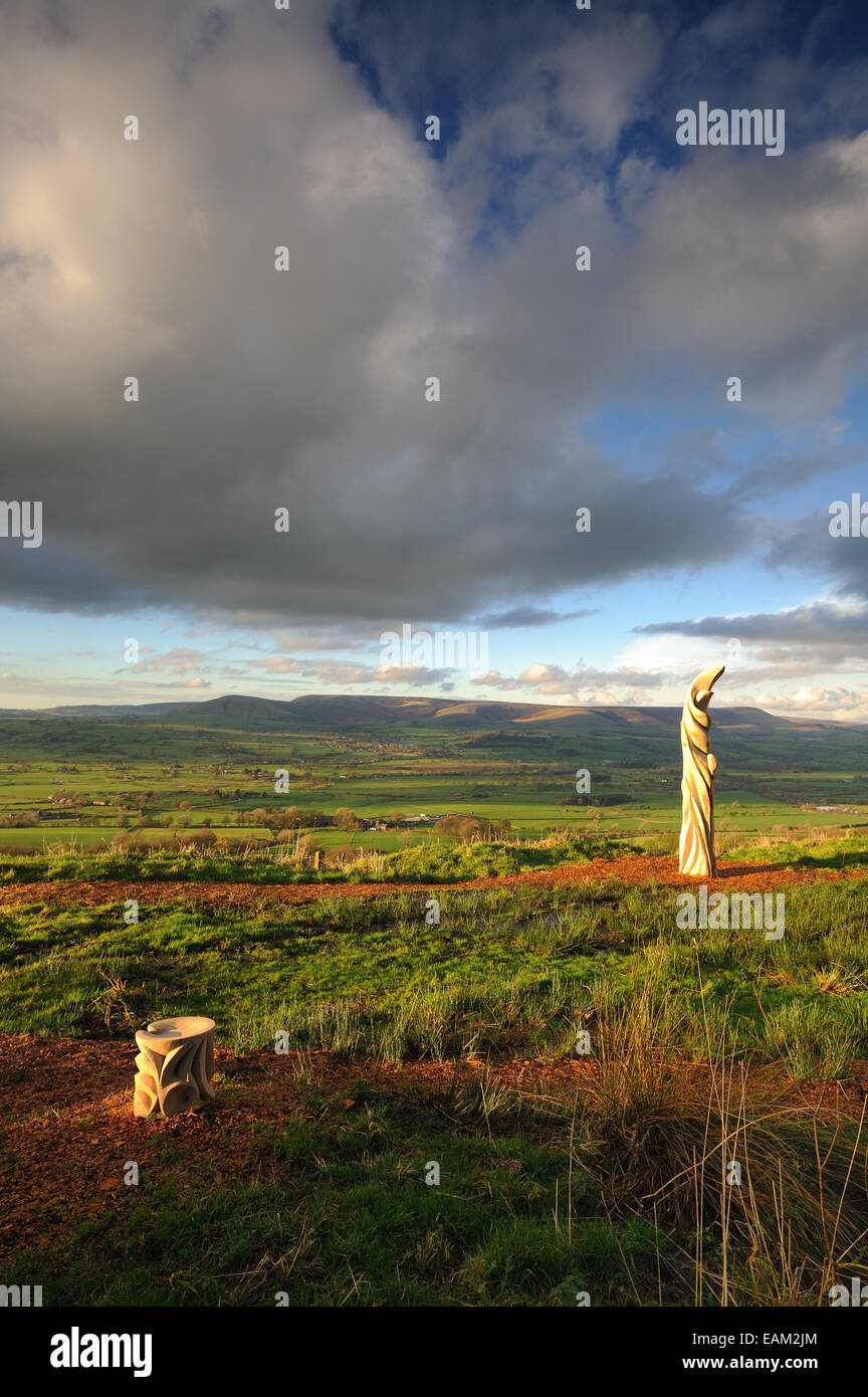 Halima Cassell sun catcher sculpture on Jeffrey Hill in the forest of Bowland - Stock Image