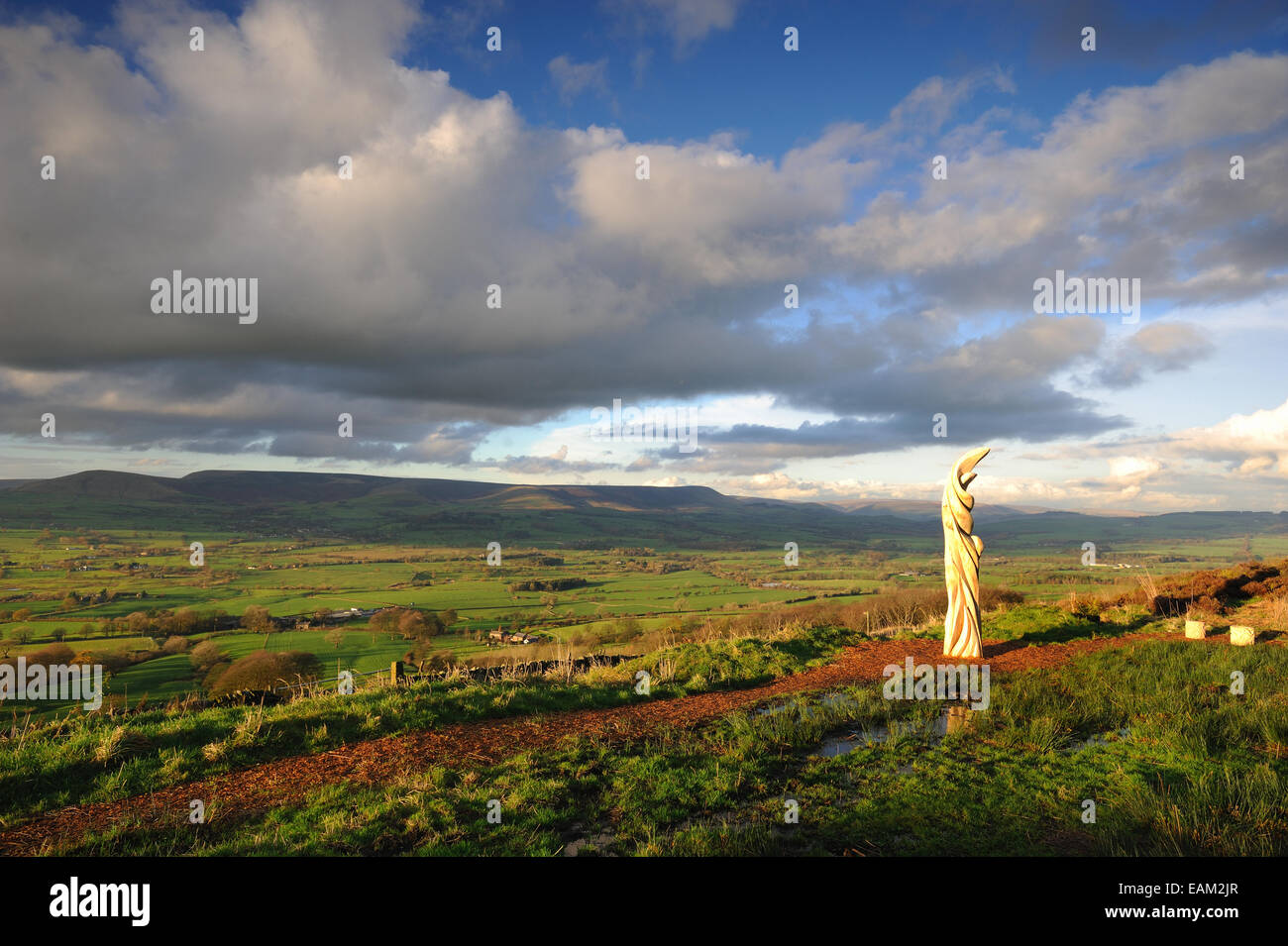 Halima Cassell sun catcher sculpture on jeffrey hill, longridge, in the forest of bowland - Stock Image