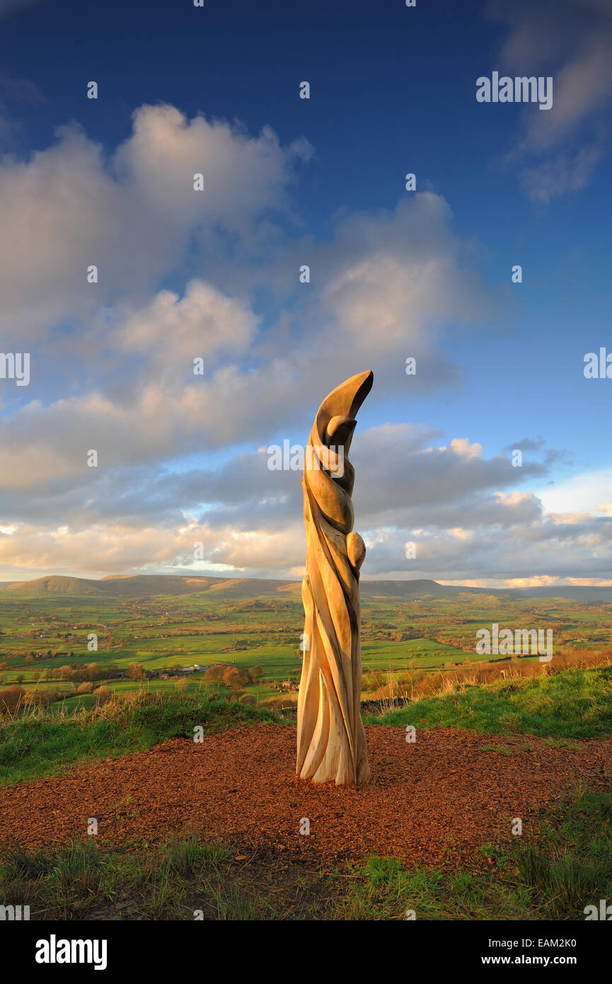 Halima Cassell sun catcher sculpture on jeffrey hill, longridge , in the forest of bowland - Stock Image