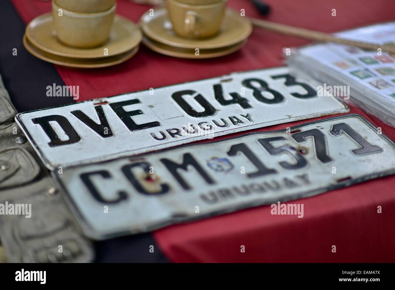 Uruguayan car plate. Constitution Square  Outdoor market in Constitution Square. - Stock Image