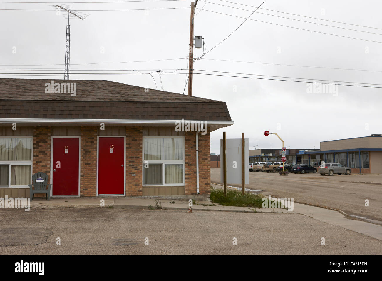 small independent roadside motel assiniboia Saskatchewan Canada - Stock Image