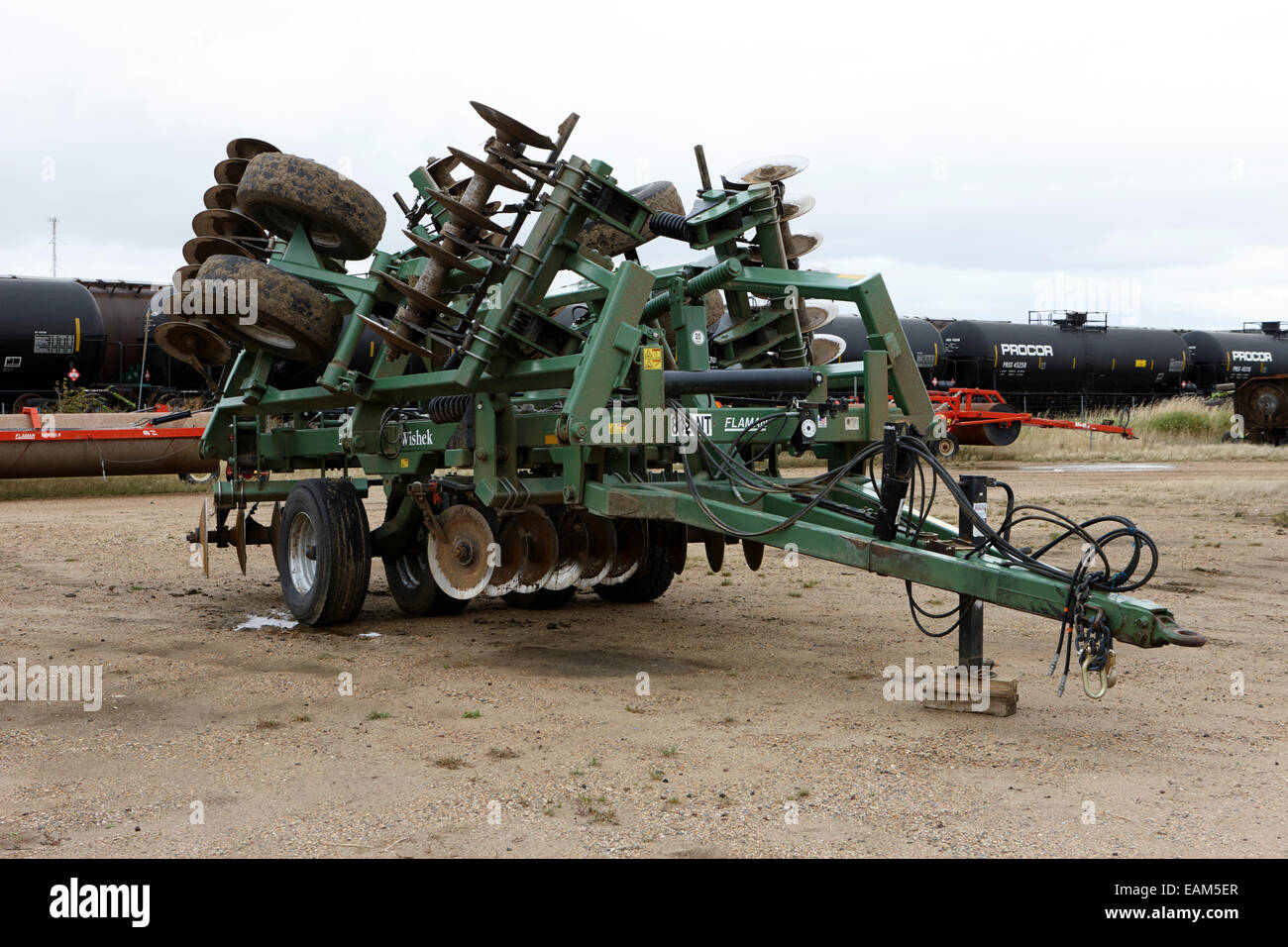 flaman wishek heavy disc plough agricultural machinery Saskatchewan Canada - Stock Image