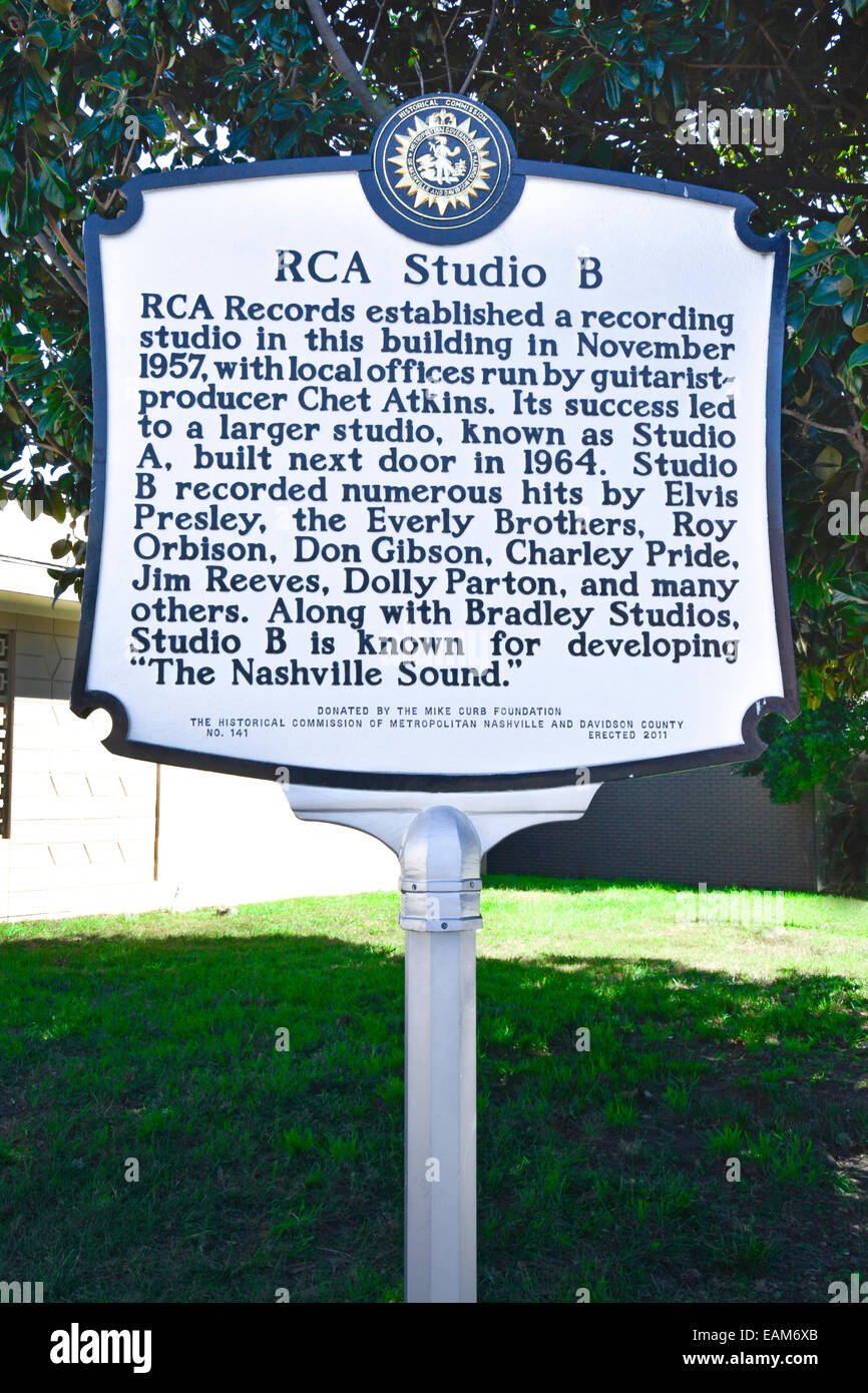 Street sign notes the location of the legendary RCA Studio B on