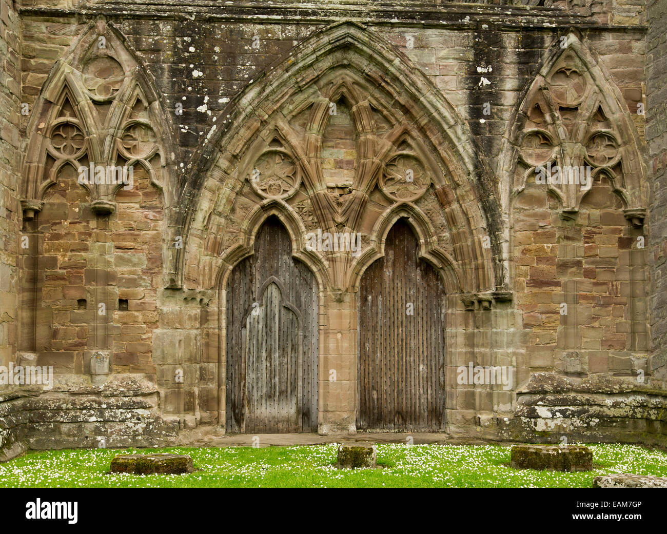 Spectacular Doorway Wall Of Ruined 12th Century Tintern Abbey With