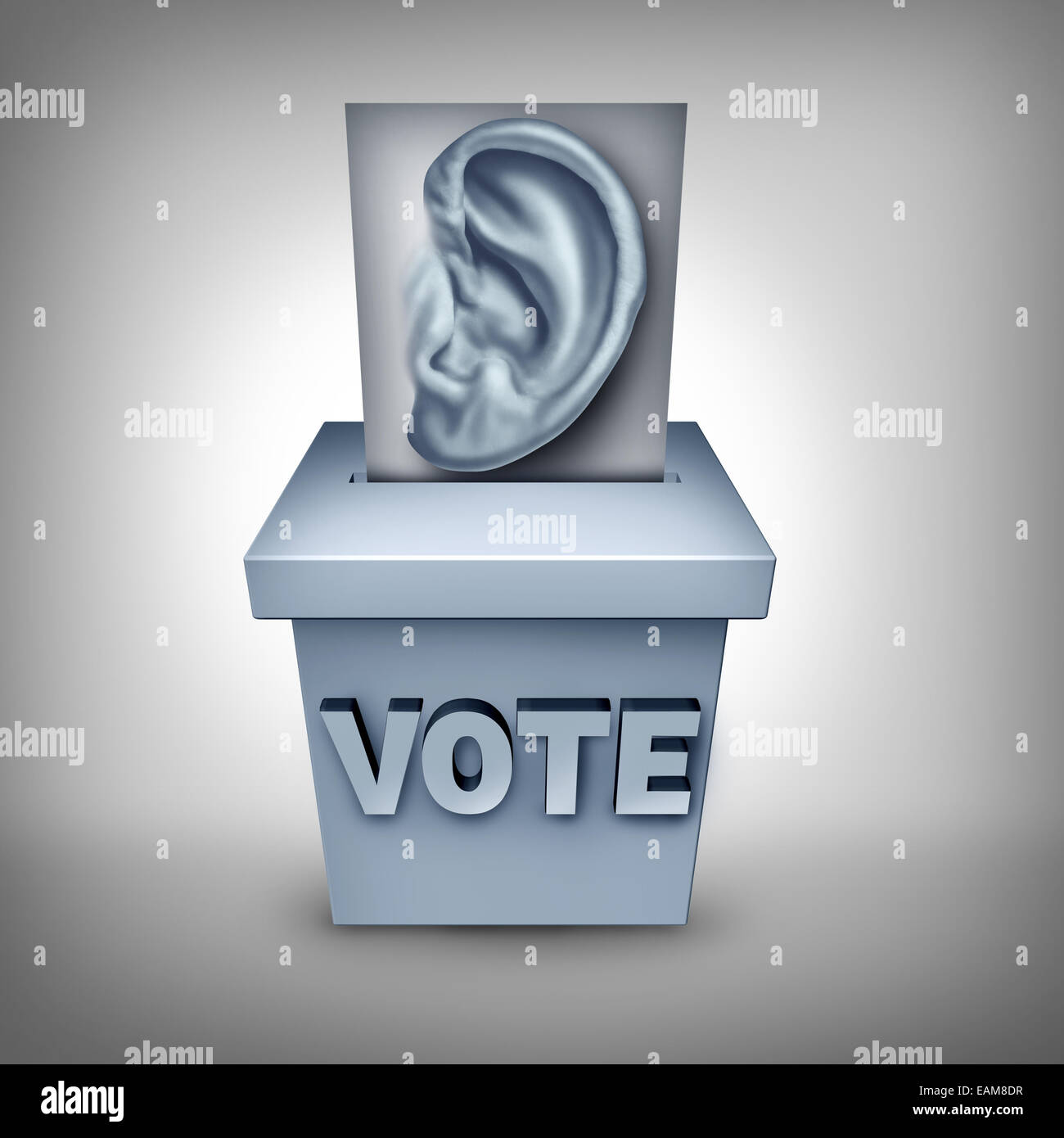 Listen to voters concept and listening to the wishes of the electorate symbol as a ballot with a human ear being - Stock Image