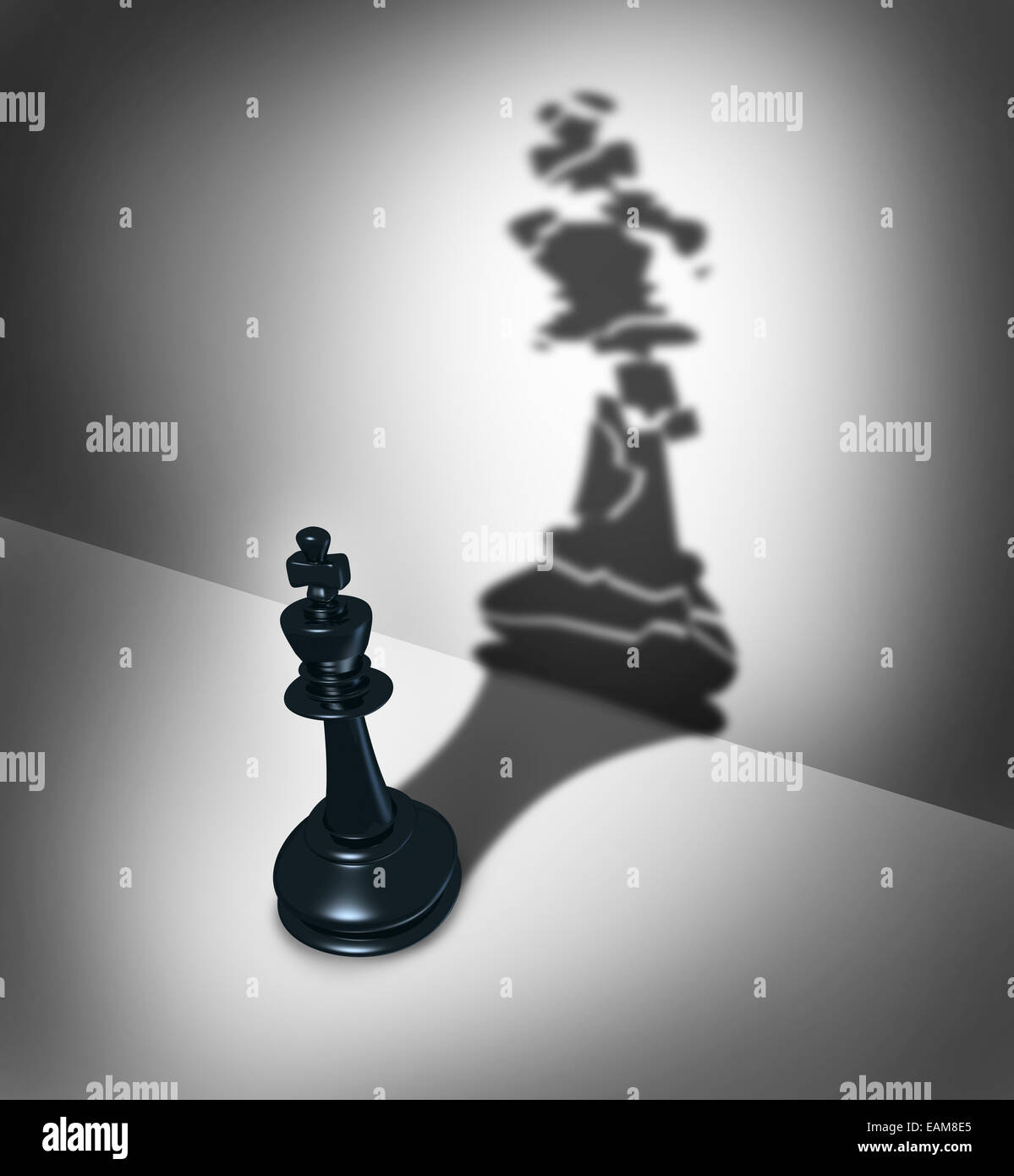 Broken leadership business crisis concept and weak leader metaphor as a three dimensional chess piece casting a - Stock Image