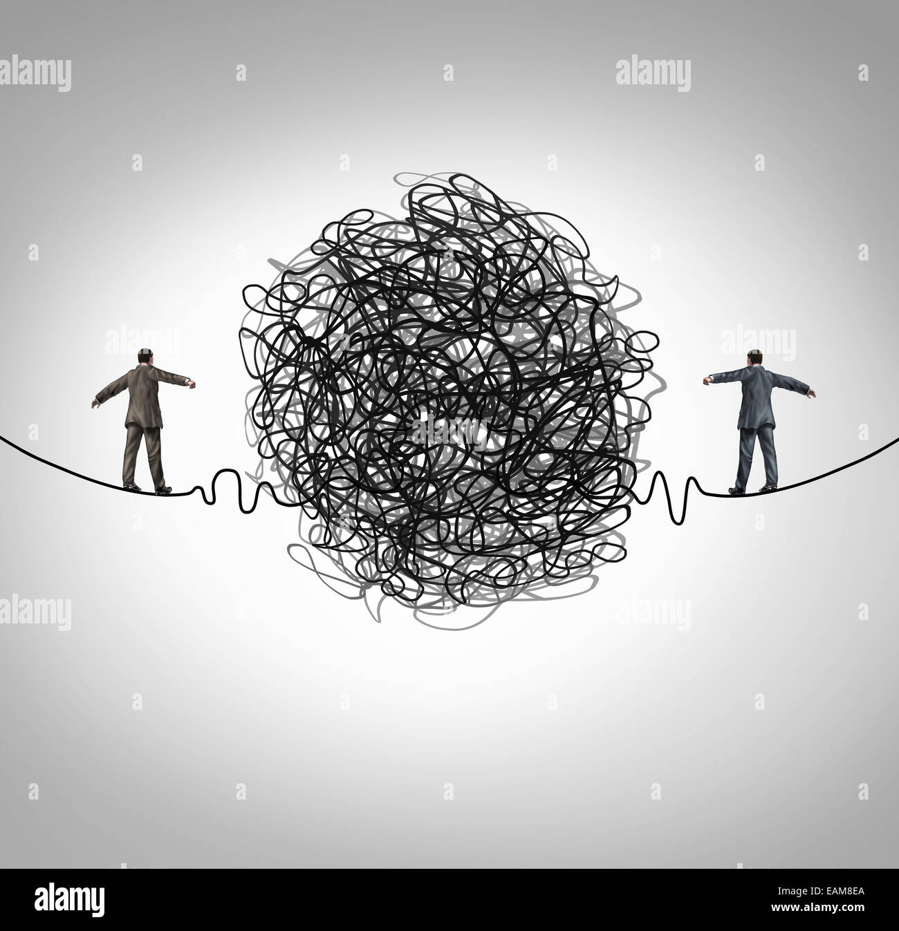 Partnership problem and business confrontation concept as two business people walking on a high wire tightrope with - Stock Image