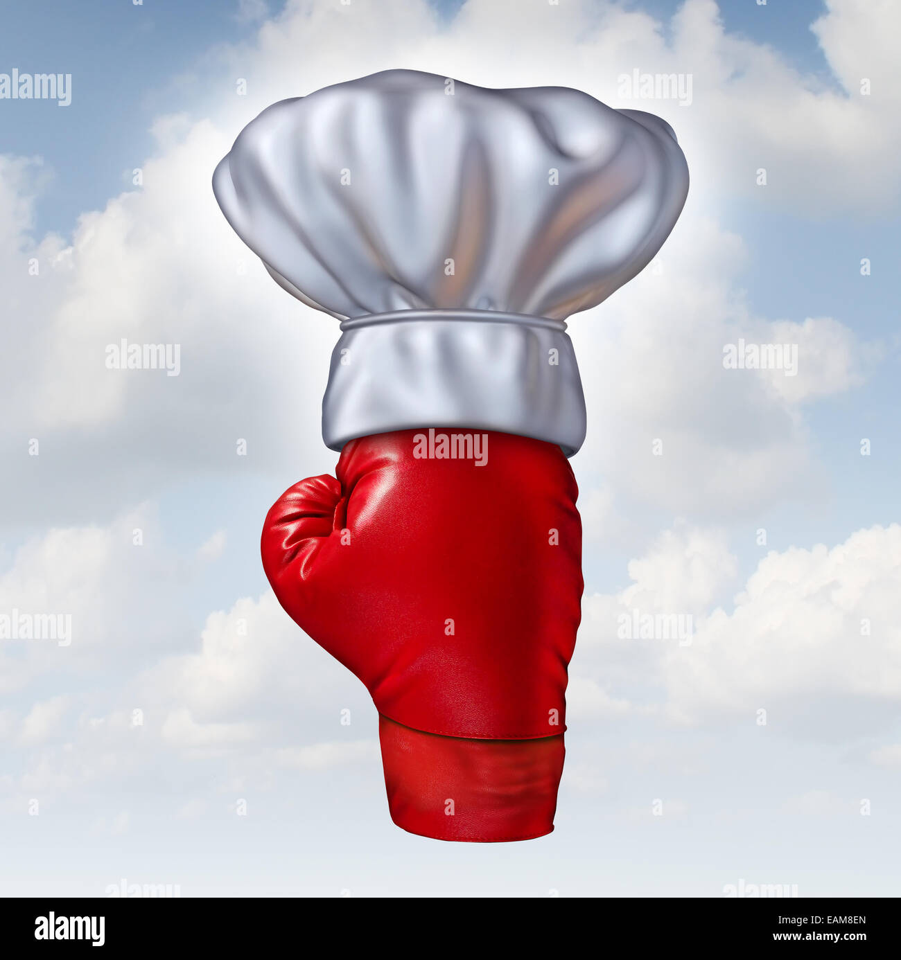 Food competition concept and top master chef symbol as a red boxing food competition concept and top master chef symbol as a red boxing glove with a white kitchen cooking hat on a sky background as an icon for cook off and forumfinder Gallery