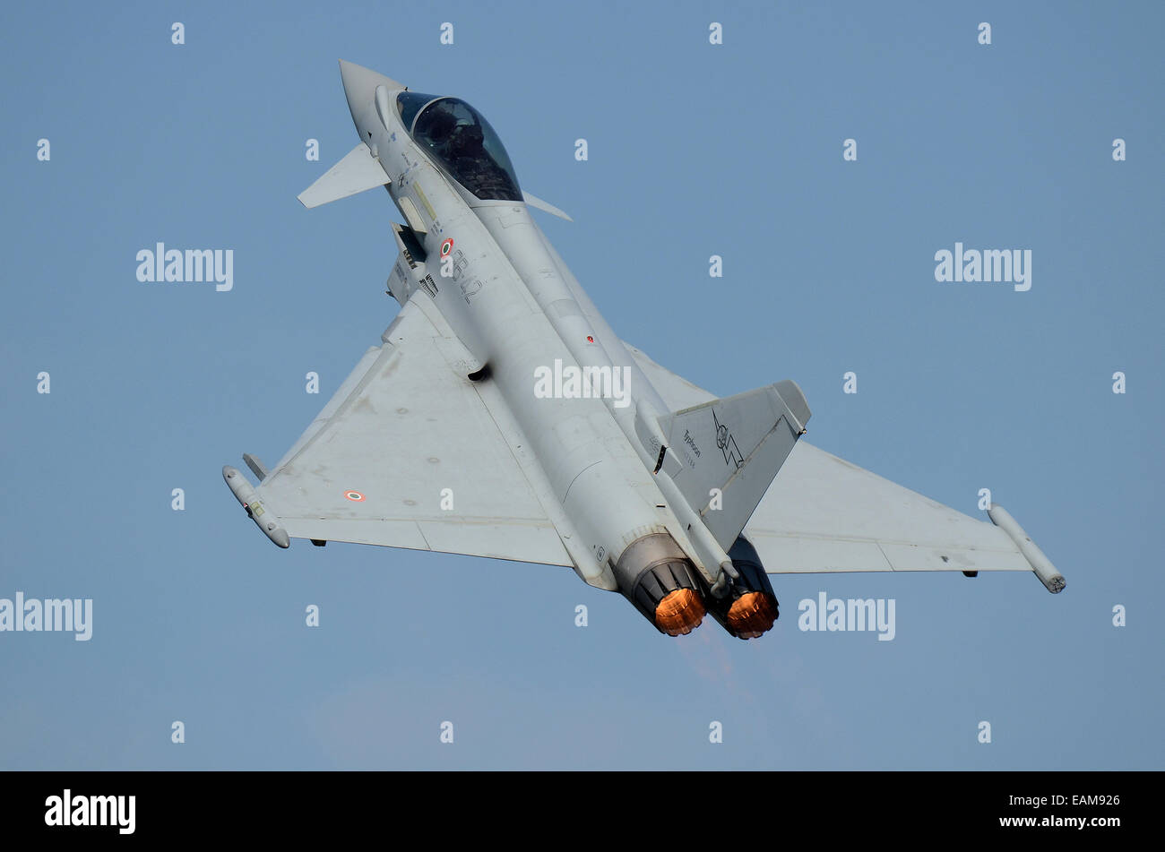 The Eurofighter Typhoon is a twin-engine, canard-delta wing, multirole fighter in service with a number of countries. Stock Photo