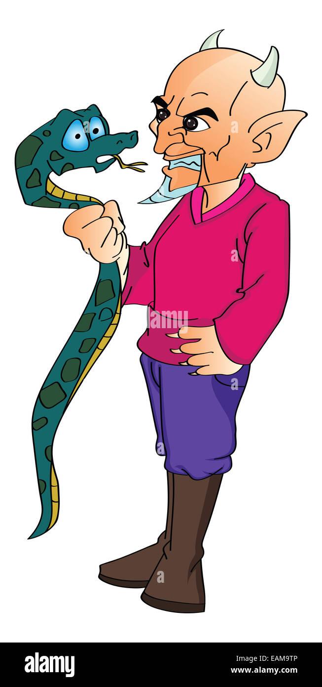 Devil Grabbing a Snake, vector illustration - Stock Image