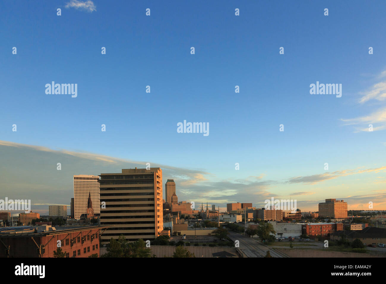 Skyline of Tulsa, Oklahoma at Sunrise Stock Photo