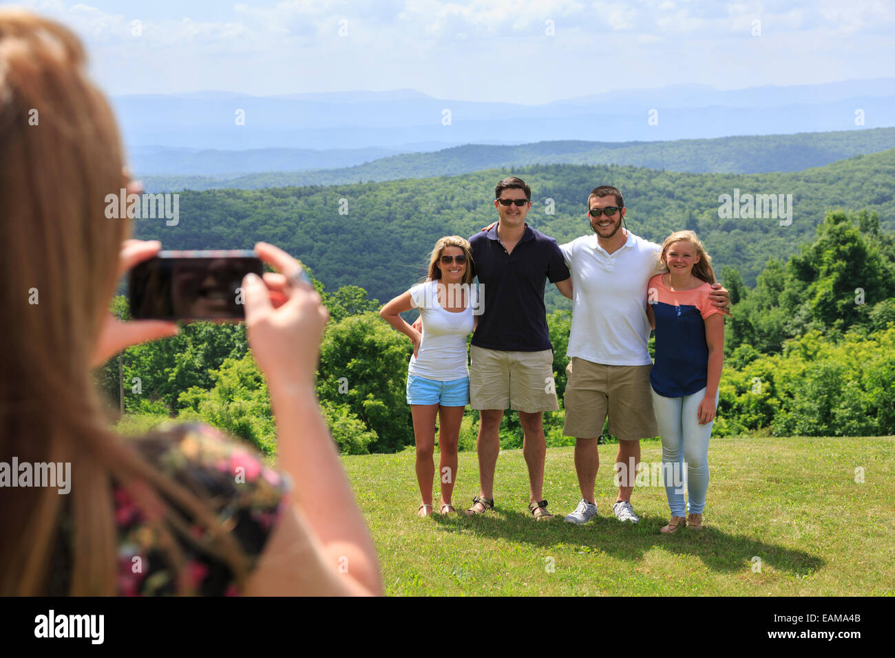 Friends at Dan Ingalls Overlook, Bath County, Virginia near Homestead Resort - Stock Image