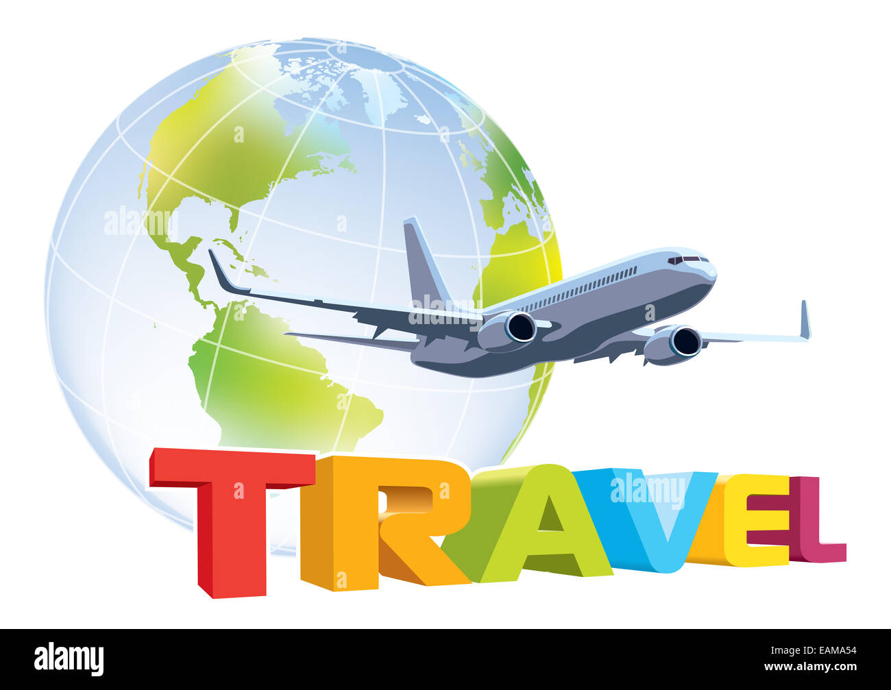 commercial airplane flying over word travel earth globe in the