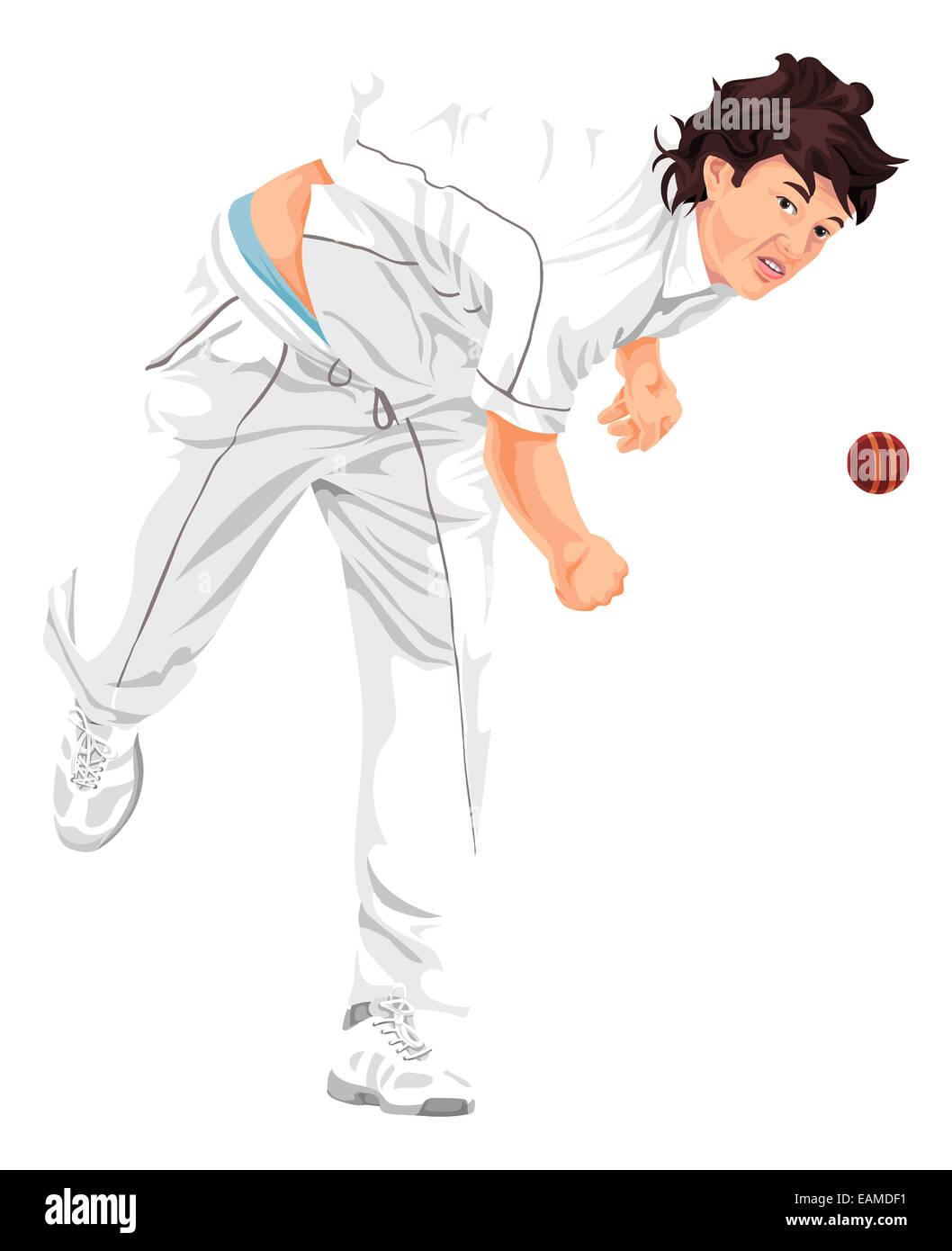 illustration cricket player bowler bowling stock photos