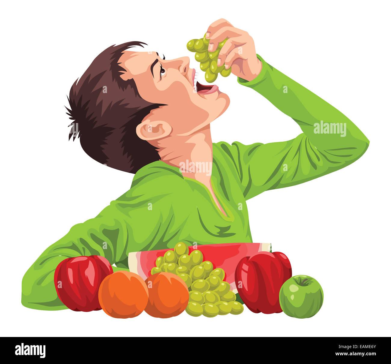 Healthy Food Cartoon Teenager Boy Stock Photos & Healthy