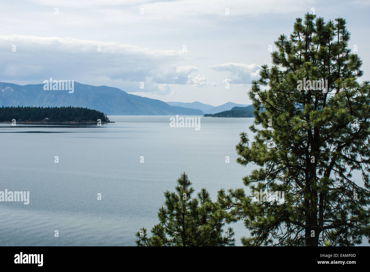 View of Lake Pend Oreille with trees adn mountains.  Hope, Idaho - Stock Image