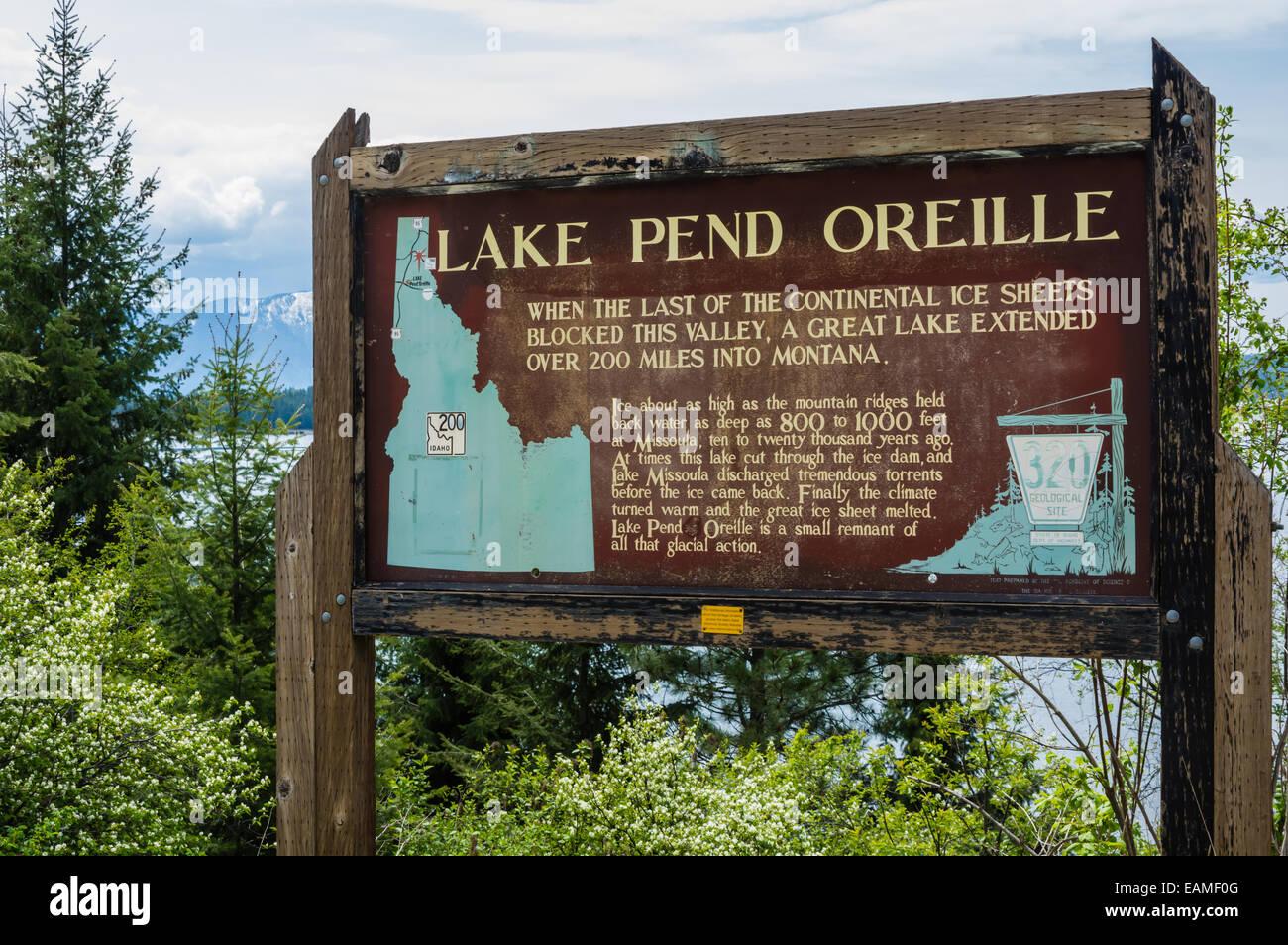 Educational roadside sign describing the history of Lake Pend Oreille.  Hope, Idaho - Stock Image