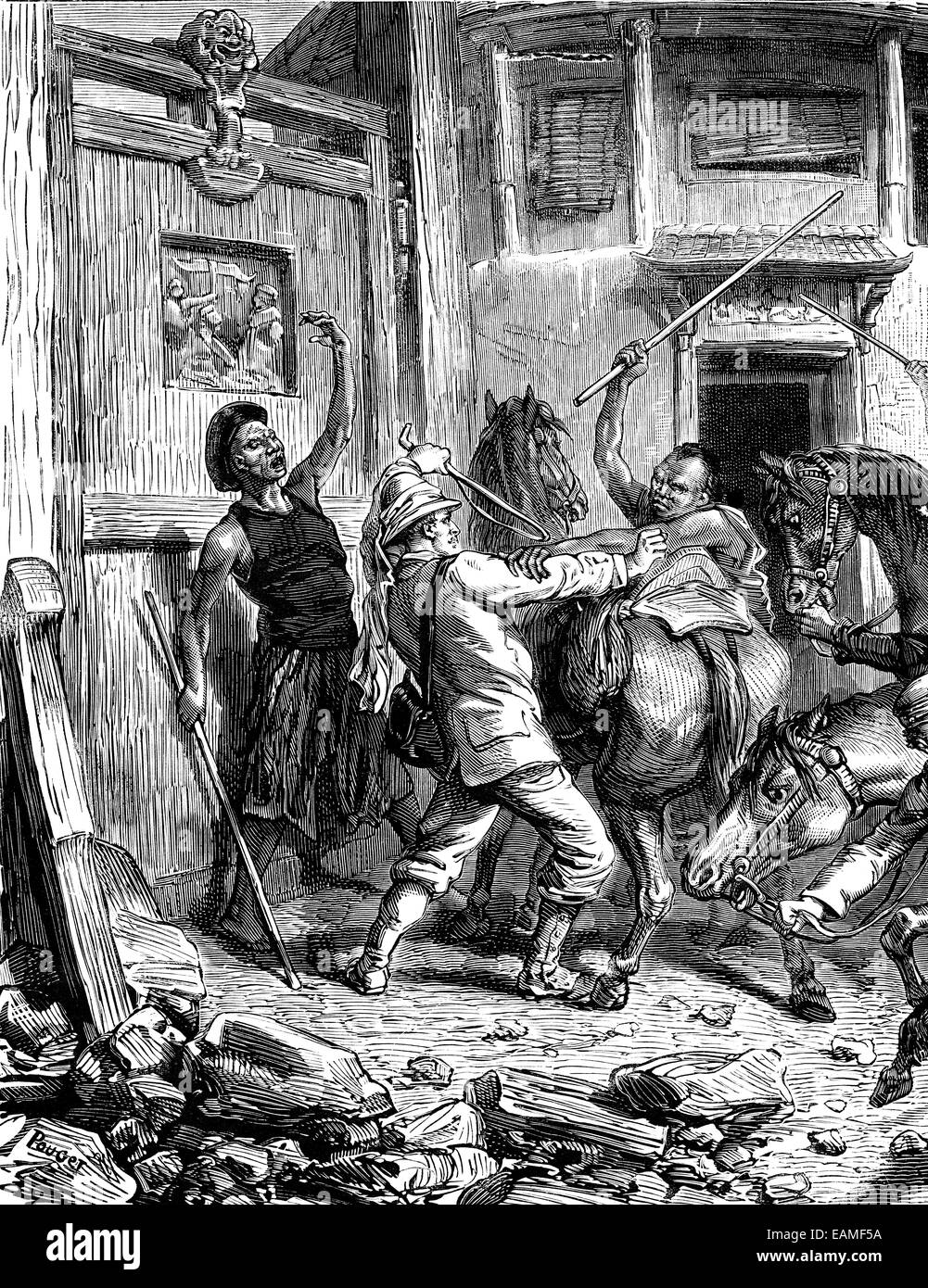 Attack In Mongolia, vintage engraved illustration. Journal des Voyages, Travel Journal, (1879-80). - Stock Image