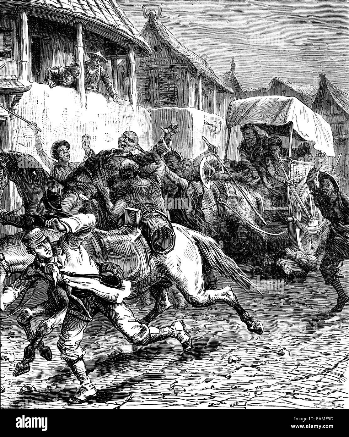 Attack in Mongolia, were five hundred and we were five, vintage engraved illustration. Journal des Voyages, Travel - Stock Image