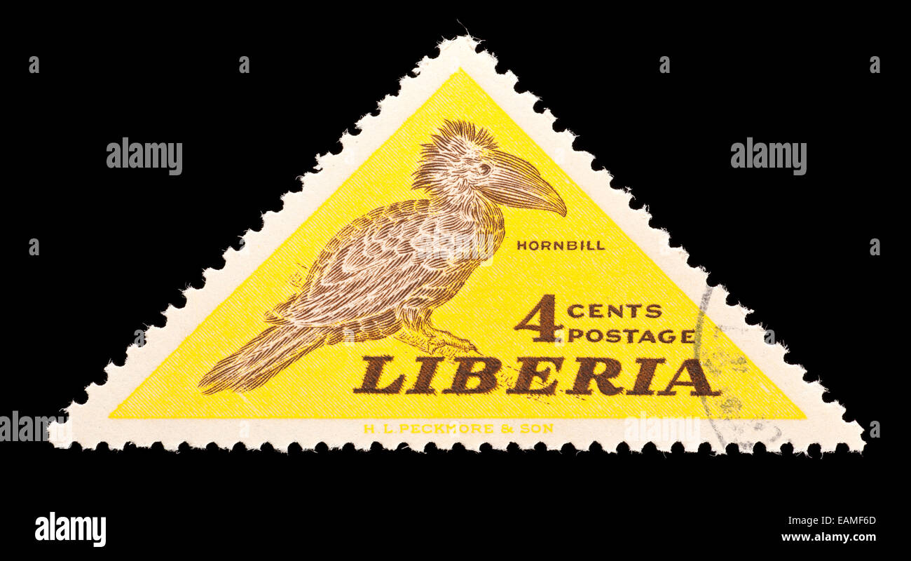 Postage stamp from Liberia depicting a hornbill bird. - Stock Image