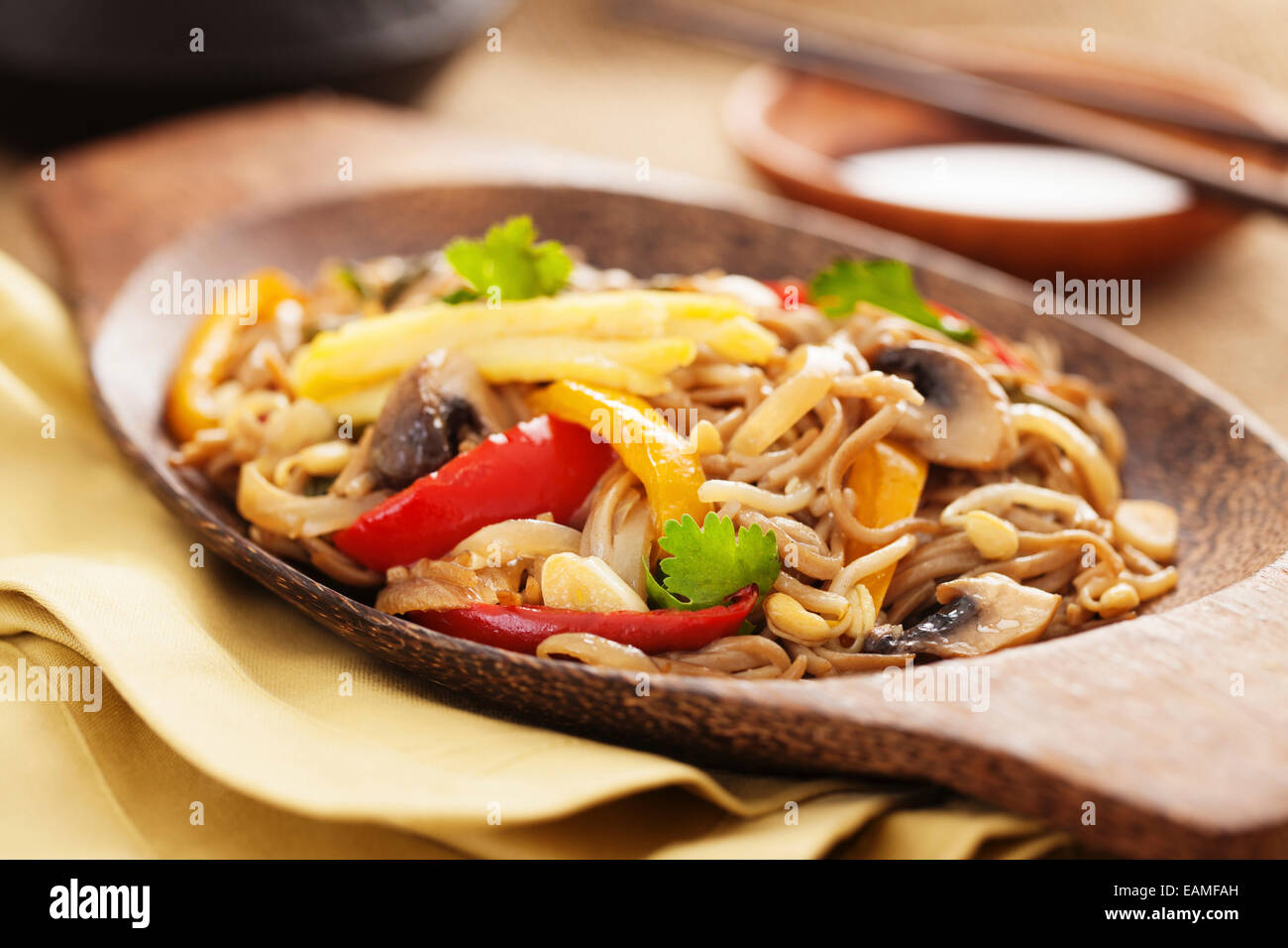 Asian yakisoba noodle with fried vegetables - Stock Image