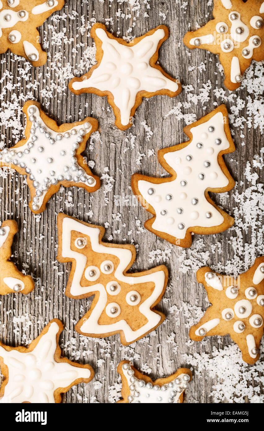 Gingerbread cookies pattern - Stock Image