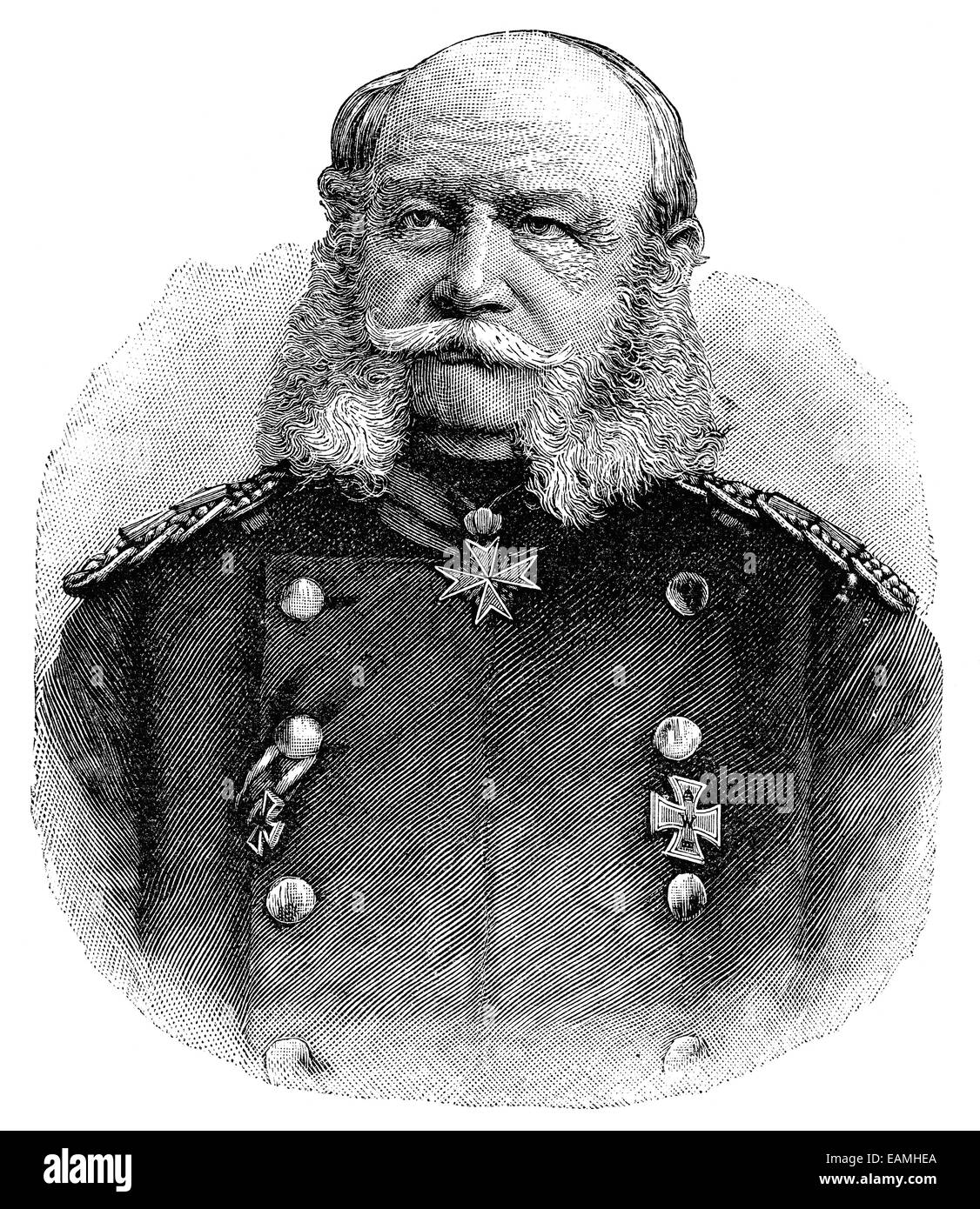 Portrait of William I, German Emperor. Publication of the book 'A Century in the text and pictures', Berlin, - Stock Image
