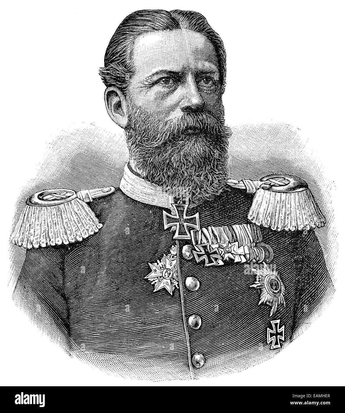 Portrait of Frederick III, German Emperor. Publication of the book 'A Century in the text and pictures', - Stock Image