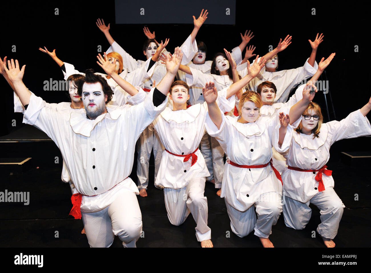 Performing Arts Students on stage at Bradford College with costume and makeup. - Stock Image