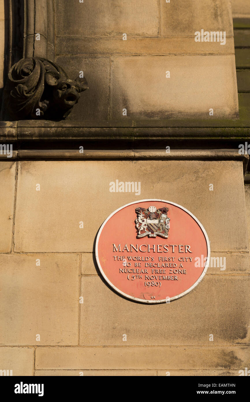 UK, Manchester, sign commemorating Manchester as being the World's first city to be declared a Nuclear free - Stock Image