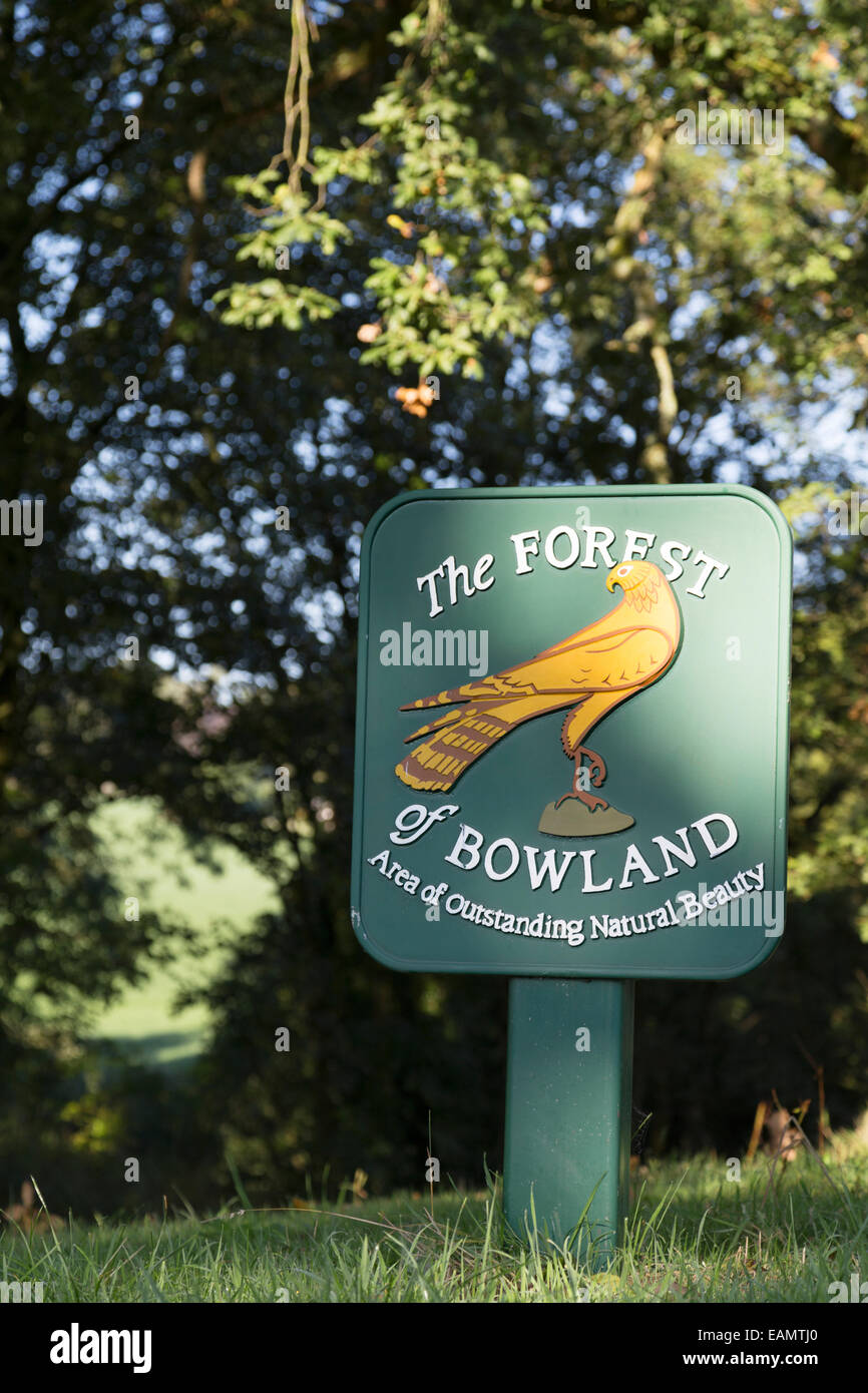UK, Lancashire, Bowland Fells, Forest of Bowland boundary sign. Area of natural outstanding beauty. - Stock Image