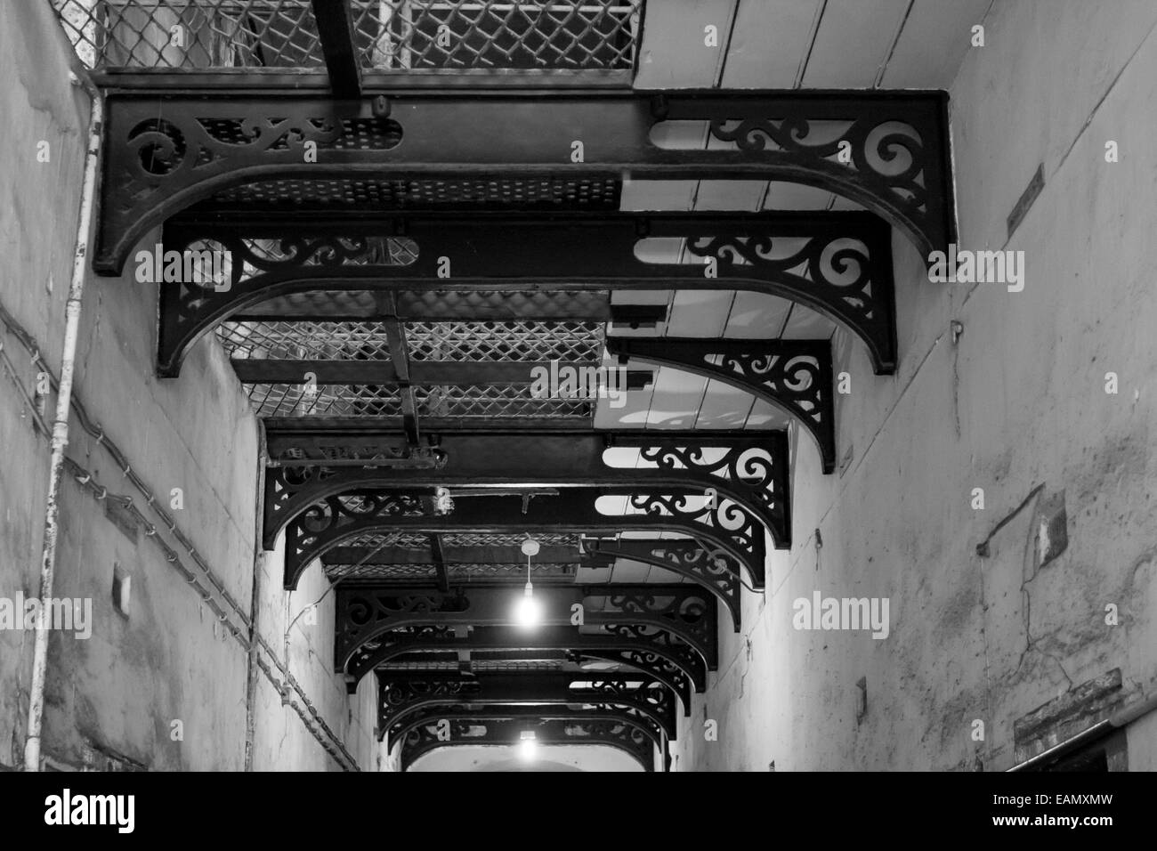 Black and white corridor in kilmainham Gaol in Dublin, Ireland - Stock Image