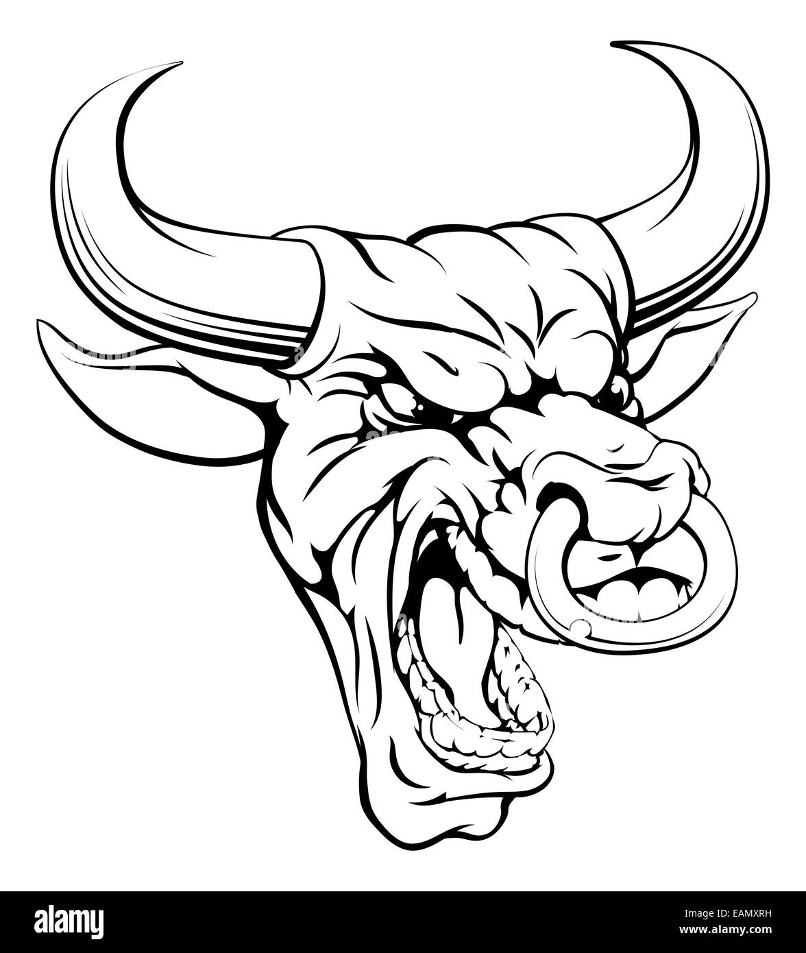 A drawing of a mean angry looking bull mascot face Stock Photo