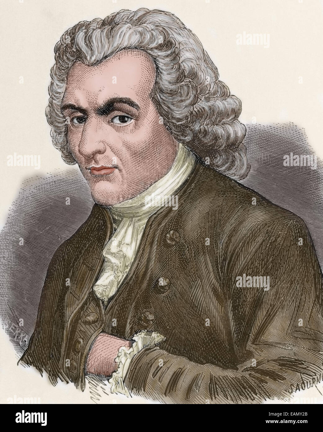 Jean-Jacques Rousseau (1712-1778). Genevan philosopher, writer, and composer. Portrait. Engraving by Sadurni. Colored. - Stock Image