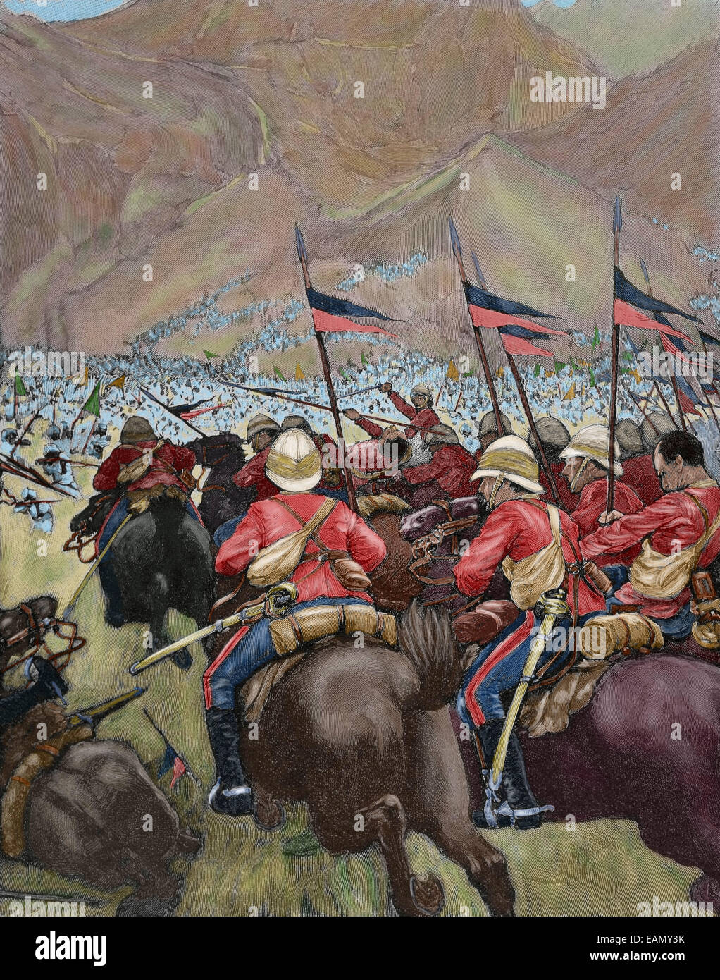Africa. Colonialism. Charging of the English cavalry. Engraving in The Iberian Illustration, 1898. Colored. - Stock Image