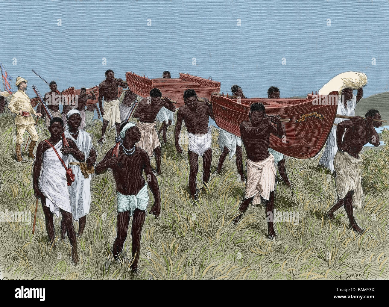 Henry Morton Stanley (1841-1904). British explorer. African porters carrying sections of Lady Alice boat. Engraving. - Stock Image