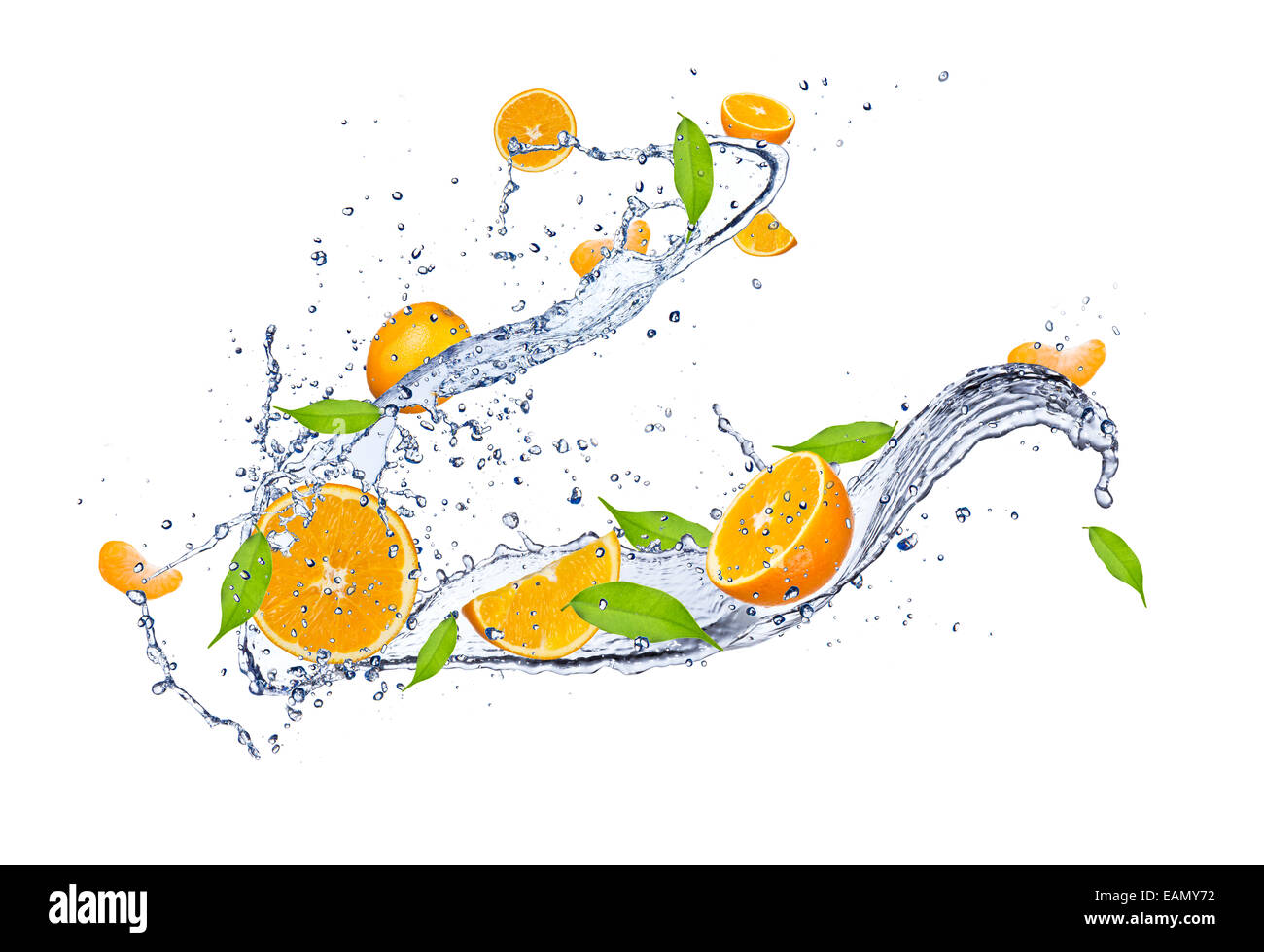 Fresh oranges in water splash, isolated on white background - Stock Image