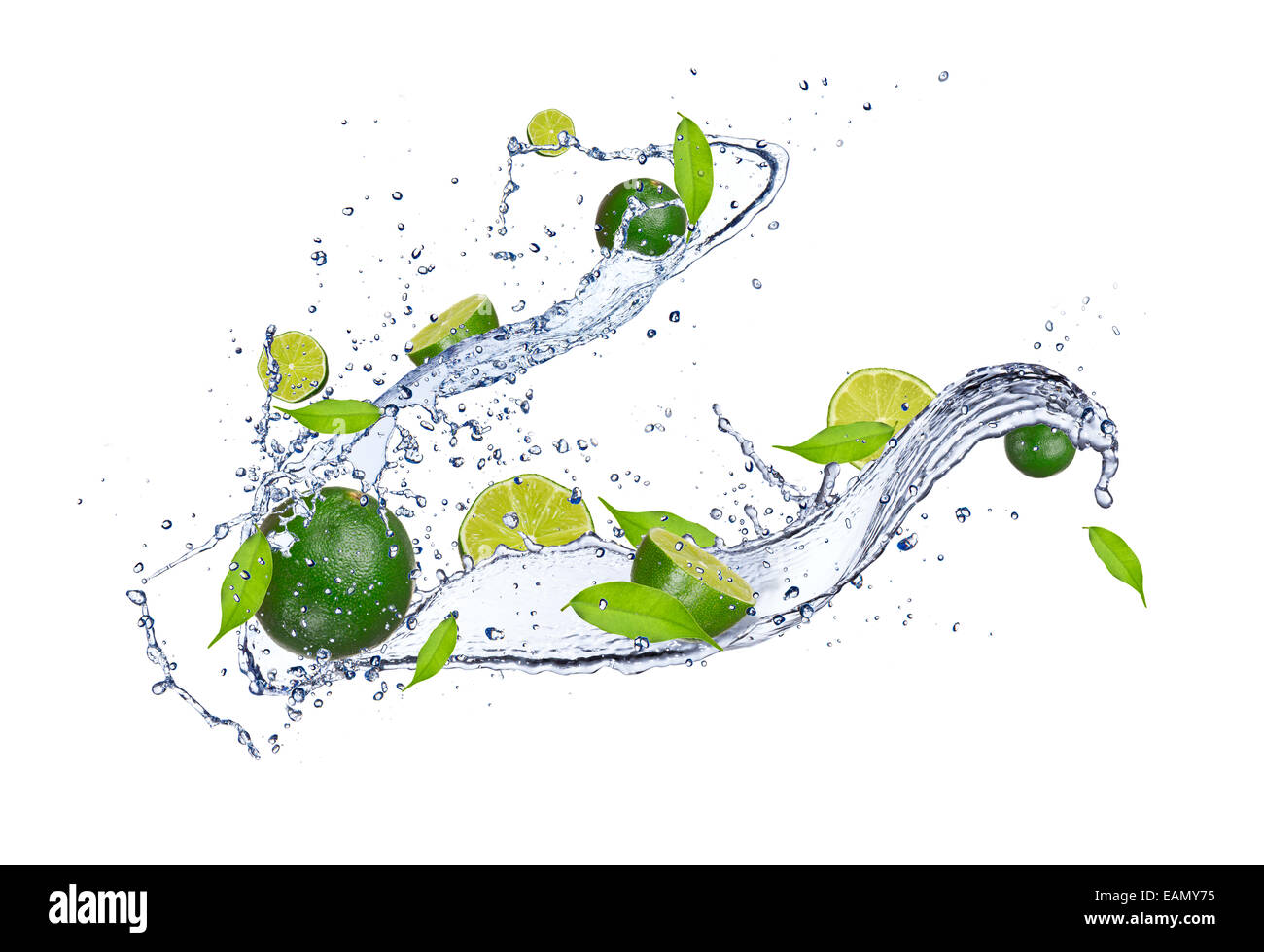 Fresh limes in water splash, isolated on white background Stock Photo