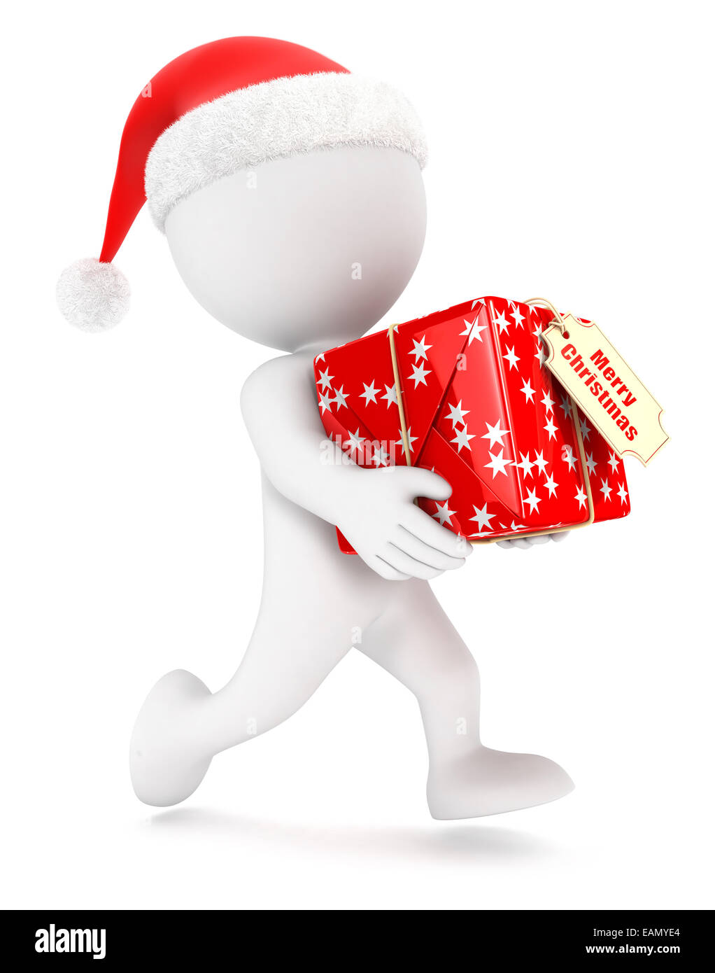 3d white people christmas express delivery, isolated white background, 3d image Stock Photo