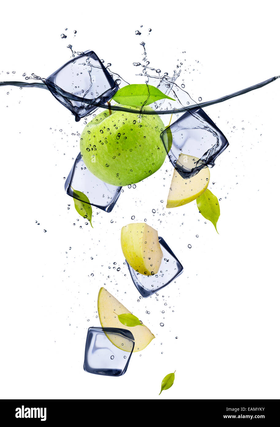 Green apple slices with ice cubes, isolated on white background - Stock Image